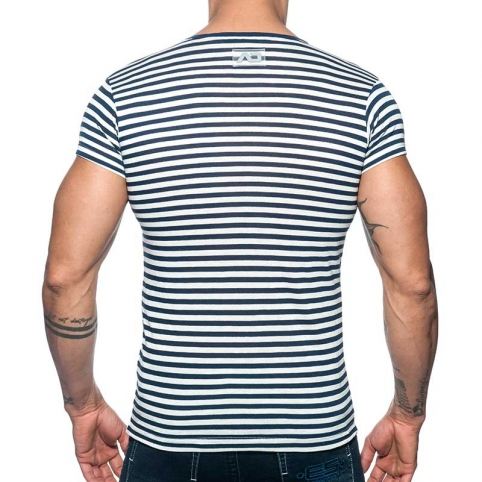 ADDICTED T-SHIRT sailor AD587 striped in navy look