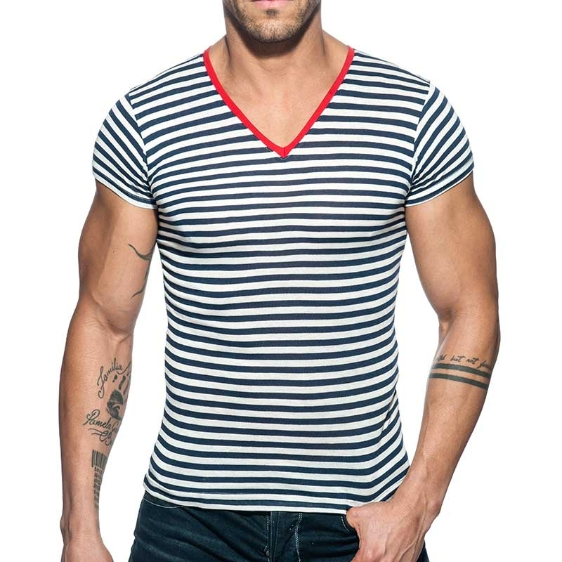ADDICTED T-SHIRT sailor AD587 gestreift im Marine Look mit red-Neck