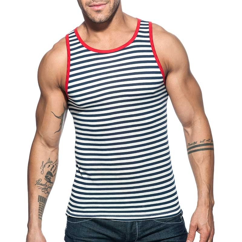ADDICTED TANK TOP sailor AD588 gestreift im Marine Look mit red-Neck