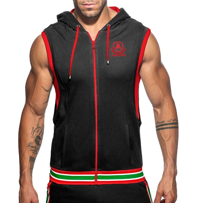 ADDICTED Sport HOODIE TANK zip AD334 gym Premium black Design