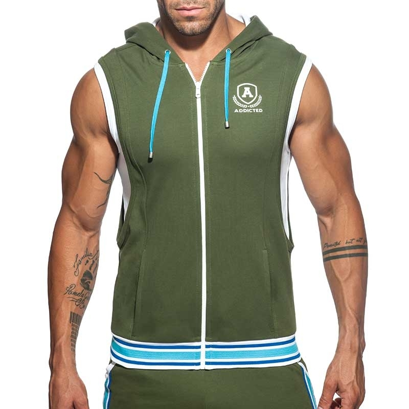 ADDICTED Sport HOODIE TANK zip AD334 gym Premium oliv green Design