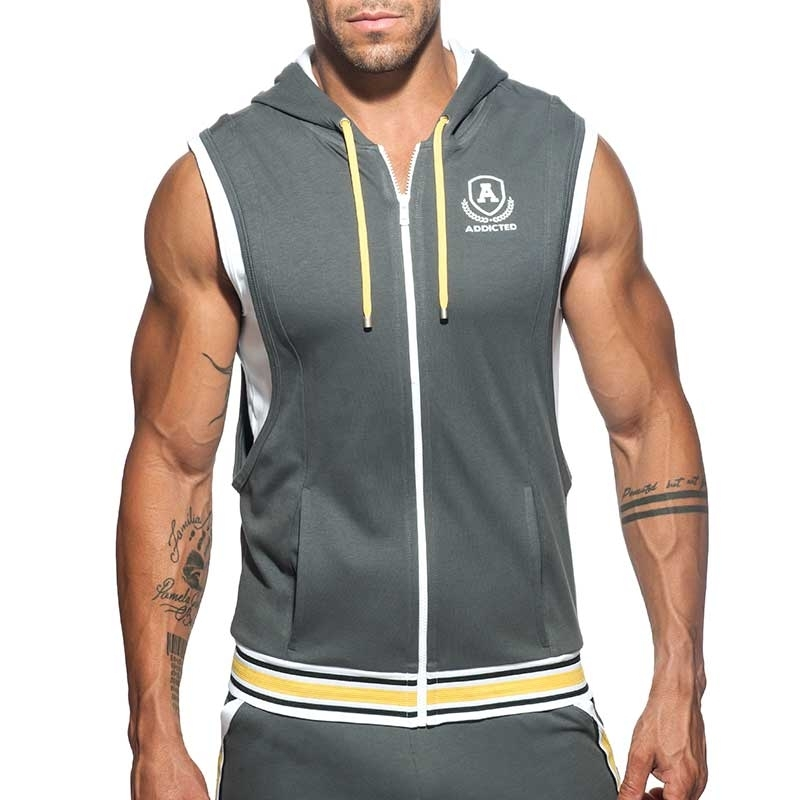 ADDICTED Sport HOODIE TANK zip AD334 gym Premium dark grey Design