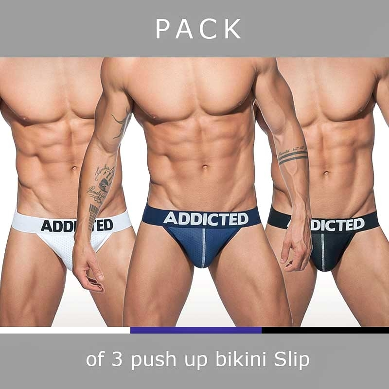 ADDICTED bikini BRIEF mesh AD679P 3-pack with push-up
