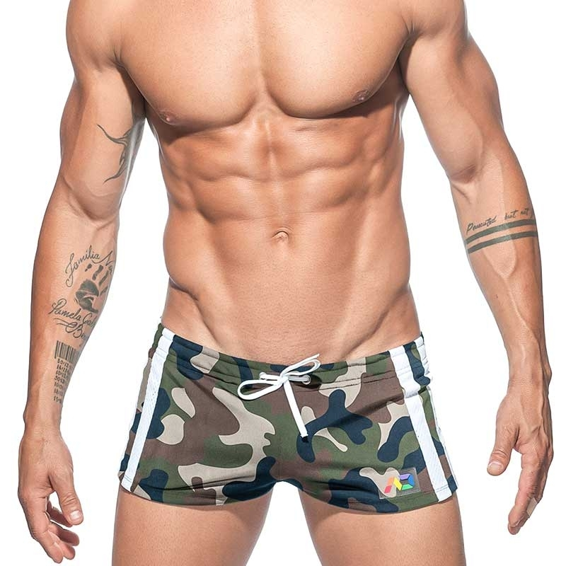 ADDICTED SHORTS pack it AD620 Regenbogen camouflage code oliv green