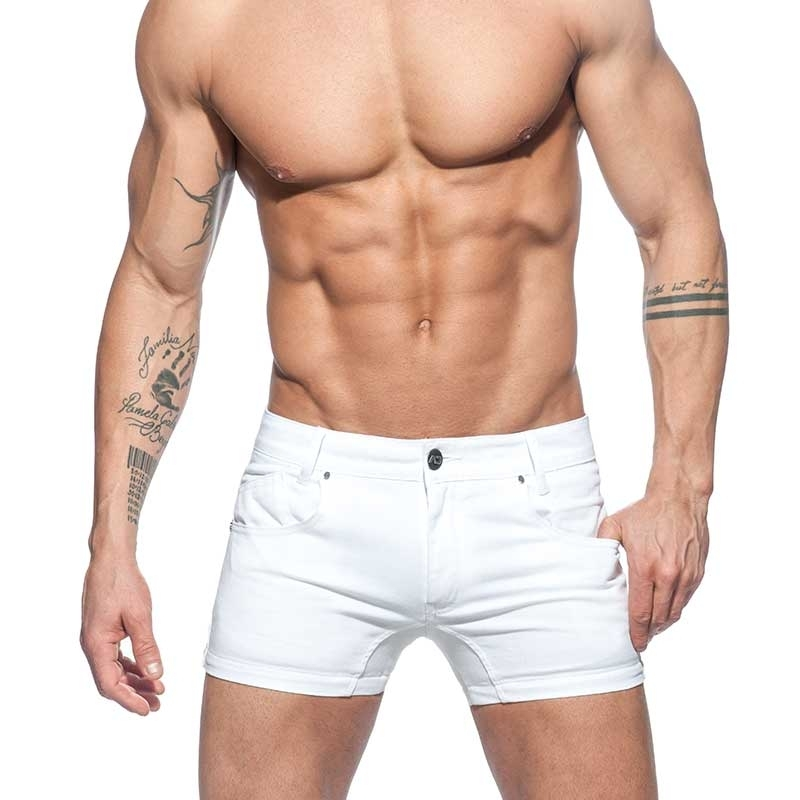 ADDICTED SHORTS twill short AD643 white jeans pants