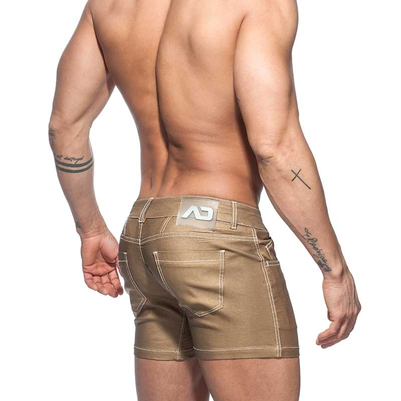 ADDICTED SHORTS Metal Look AD642 Gold-Bronze Shiny Jeans