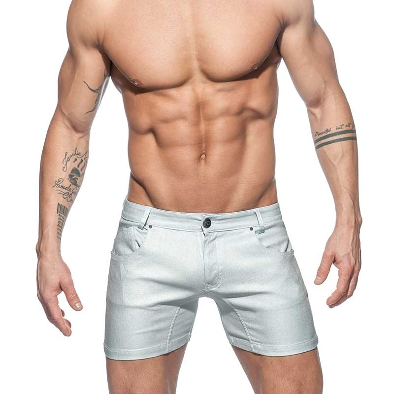 ADDICTED SHORTS Metall Look AD642 Weiss-Silber Glanz Jeanshose