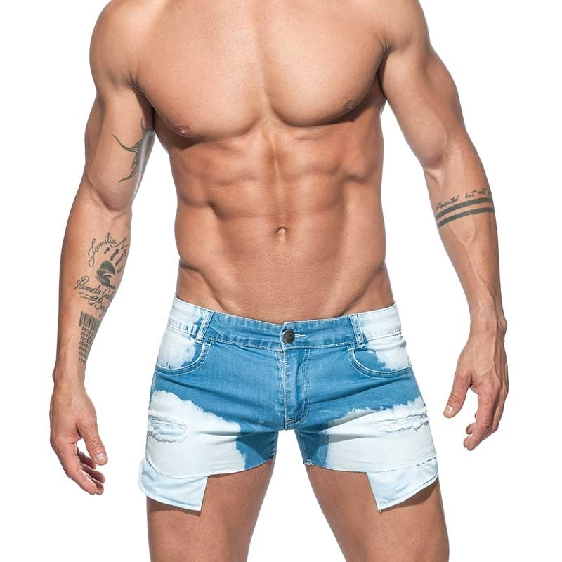 ADDICTED SHORTS holes cut AD639 used look mini jeans