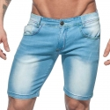 ADDICTED capri SHORTS rainbow AD637 used look mid lang blue Jeanshose