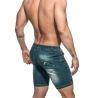 ADDICTED capri SHORTS rainbow AD637 used look mid lang darkblue Jeanshose