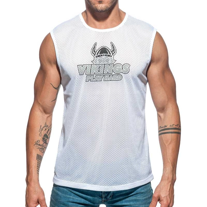 ADDICTED TANK TOP mesh Vikings AD688 play hard now in white