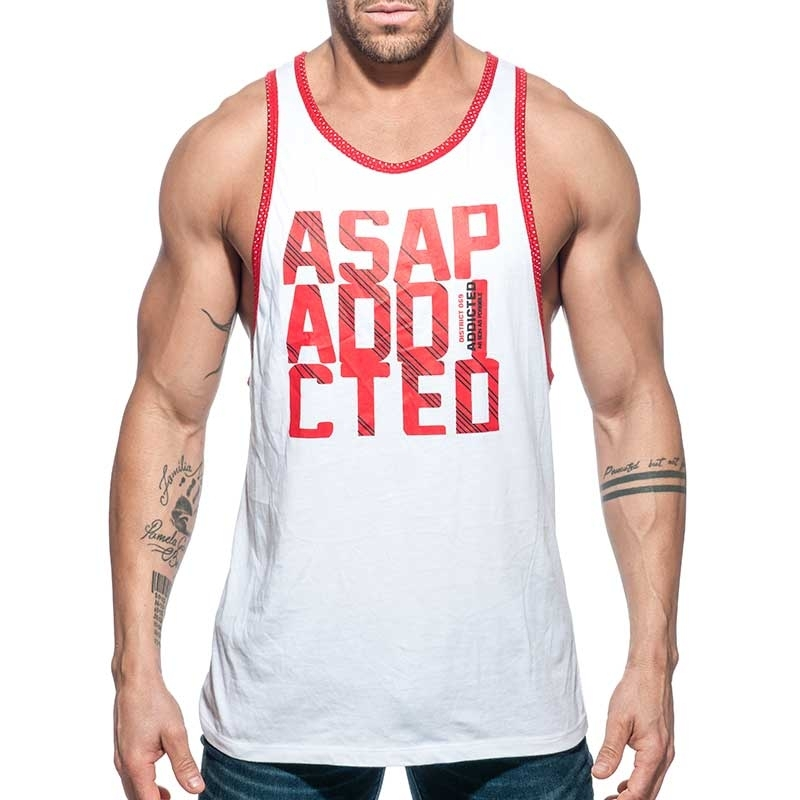 ADDICTED TANK TOP gym ASAP sprint AD663 white mit low cut