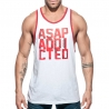ADDICTED TANK TOP gym ASAP sprint AD663 white with low cut