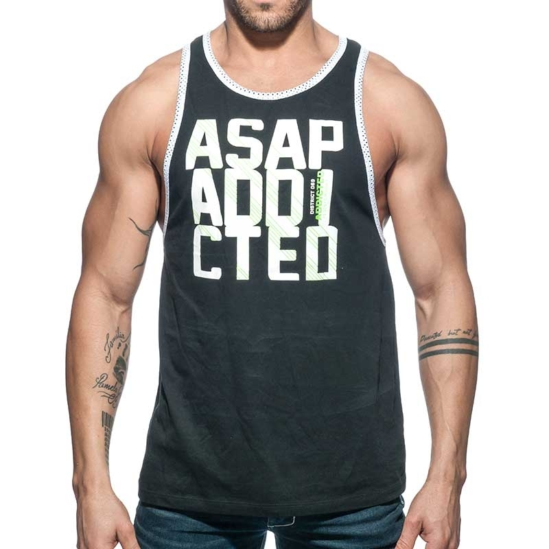 ADDICTED TANK TOP gym ASAP sprint AD663 black with low cut