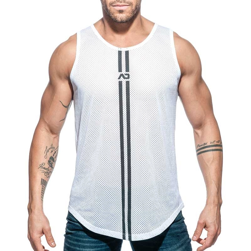 ADDICTED TANK TOP mesh double stripe AD671 white long shirt
