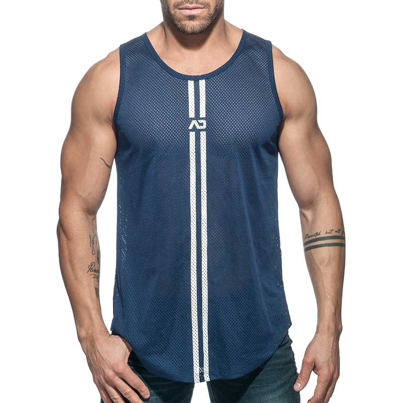 ADDICTED TANK TOP mesh double stripe AD671 navy long shirt
