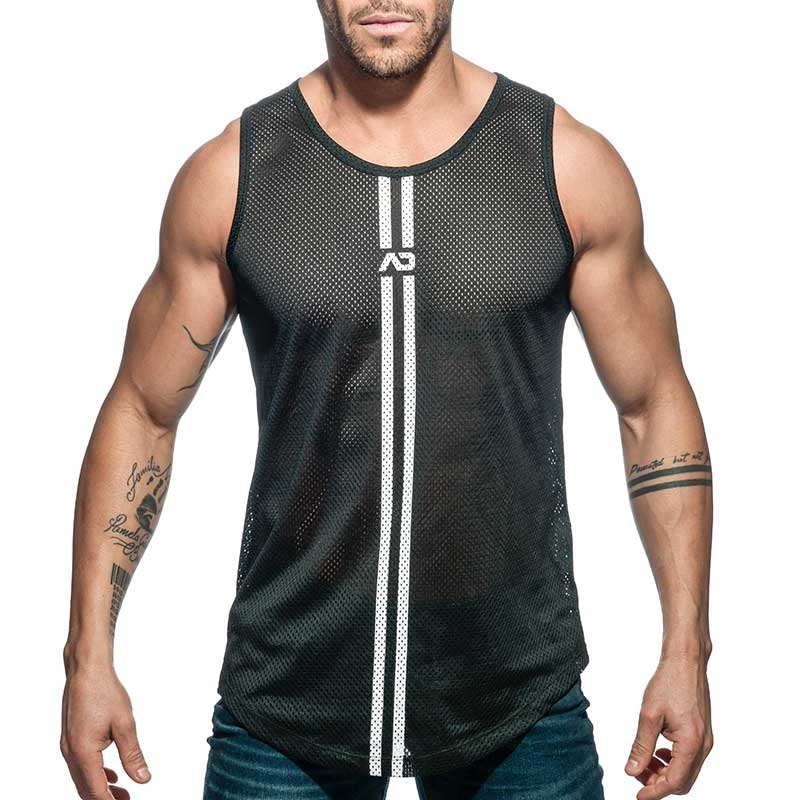 ADDICTED TANK TOP mesh double stripe AD671 black long shirt