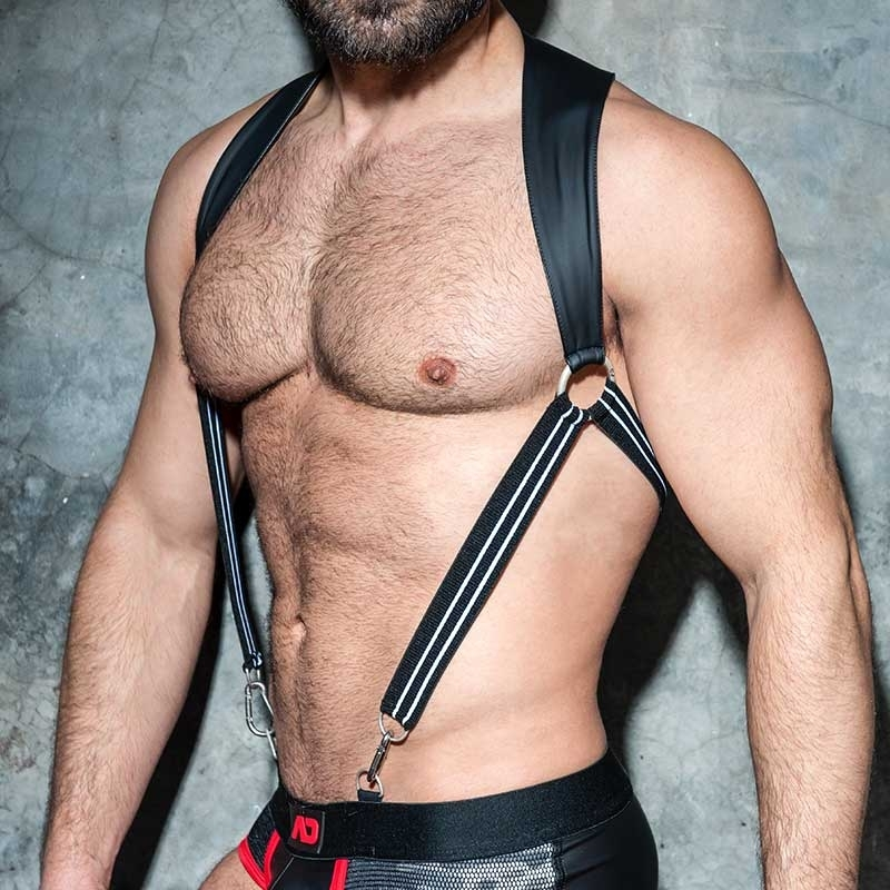 AD-FETISH HARNESS rubber suspenders ADF87 Karabiner code white