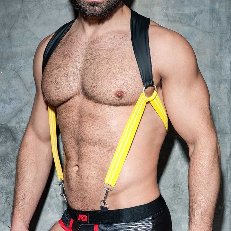AD-FETISH HARNESS rubber suspenders ADF87 carabiner code yellow