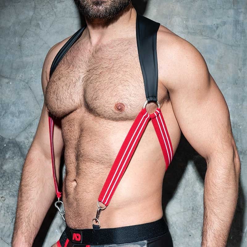 AD-FETISH HARNESS rubber suspenders ADF87 carabiner code red