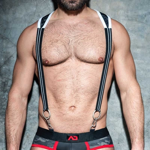 AD-FETISH HARNESS camouflage suspenders ADF86 carabiner code white