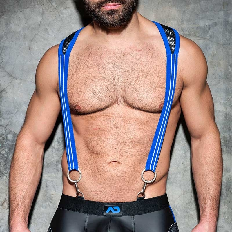 AD-FETISH HARNESS camouflage suspenders ADF86 carabiner code blue