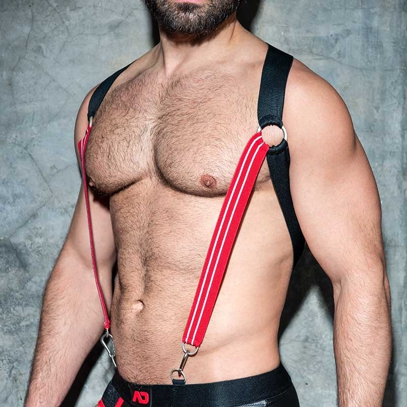 AD-FETISH HARNESS elastic suspenders ADF85 Karabiner code red