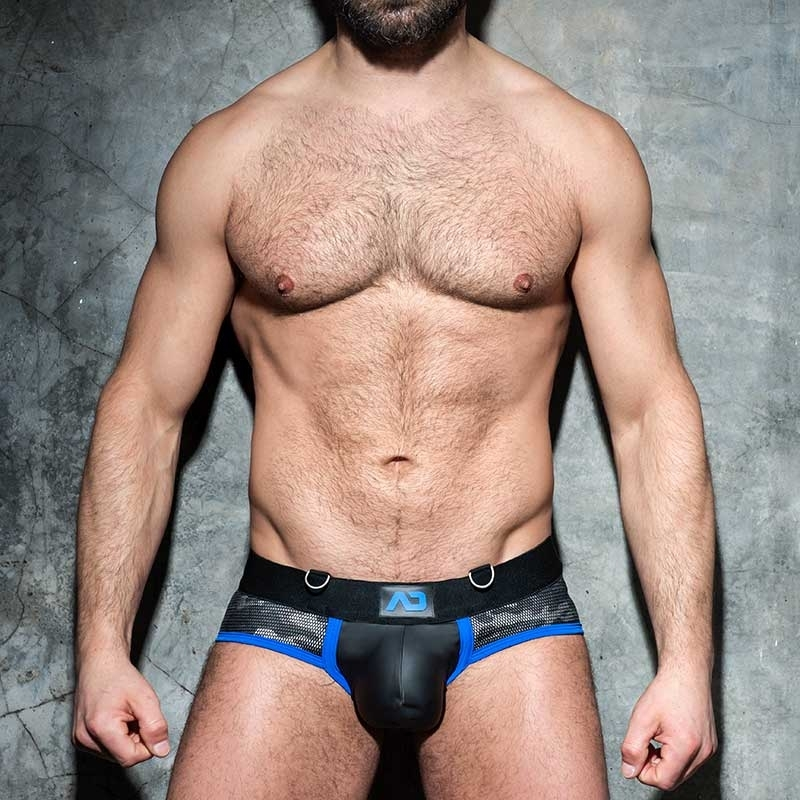 AD-FETISH wet BRIEF camouflage mesh ADF71 Carabiner push-up code blue