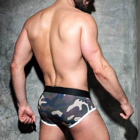 AD-FETISH BRIEF zipper camouflage ADF66 Carabiner push-up code white