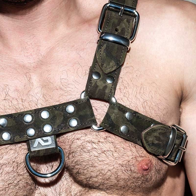 AD-FETISH LEATHER HARNESS camouflage ADF94 Tarnfleck in oliv