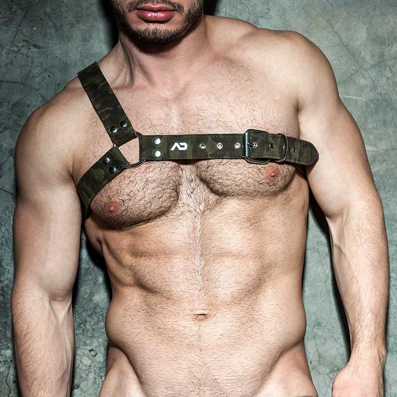 AD-FETISH LEATHER HARNESS camouflage ADF91 Gladiator in oliv