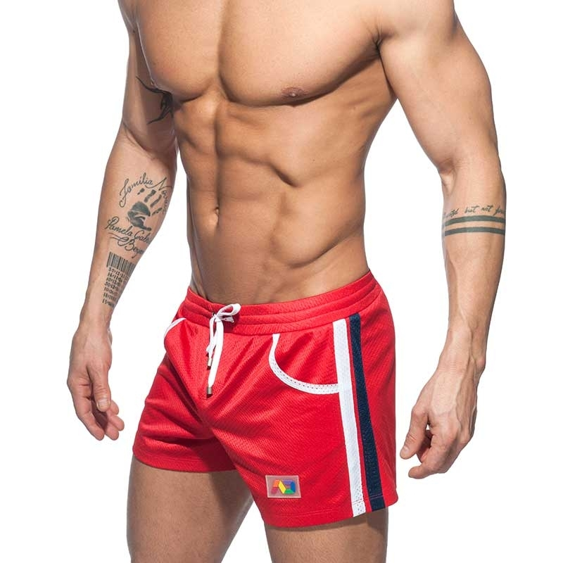 ADDICTED SWIM SHORTS mesh rainbow ADS178 casual beach pants in red
