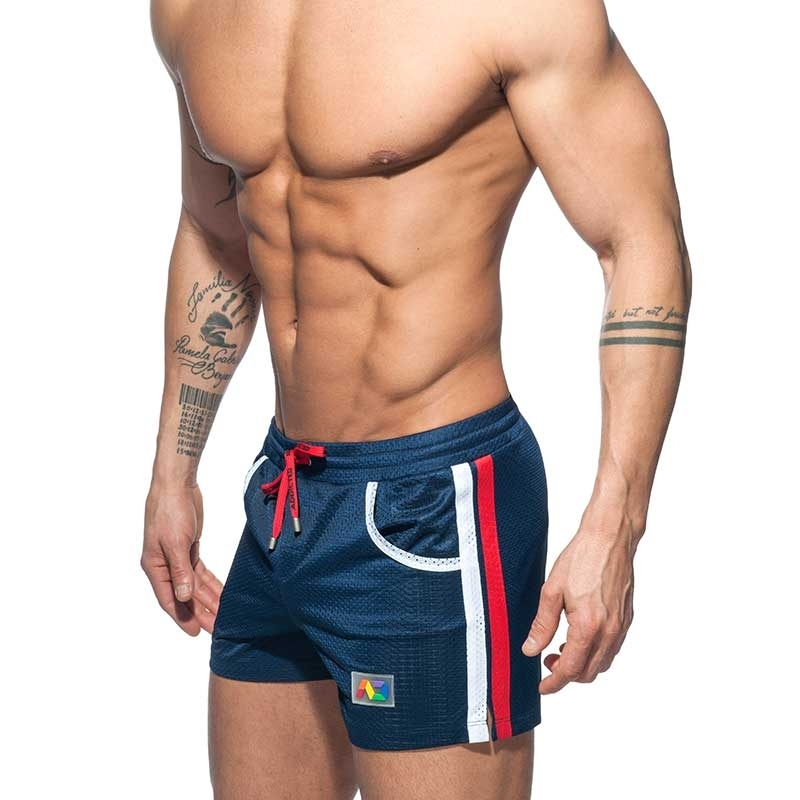 ADDICTED SWIM SHORTS mesh rainbow ADS178 casual beach pants in dark blue