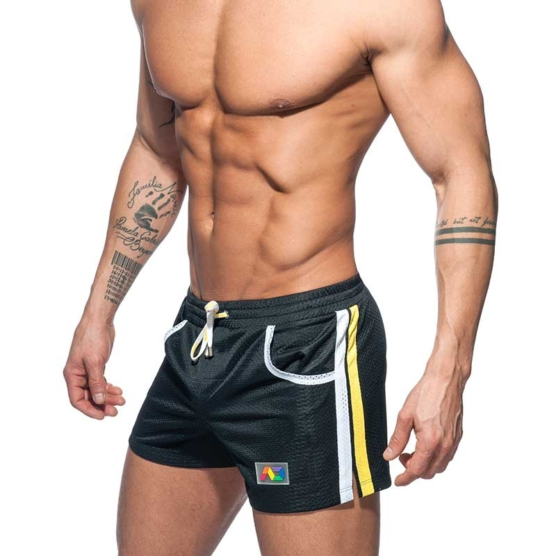 ADDICTED SWIM SHORTS mesh rainbow ADS178 casual beach pants in black