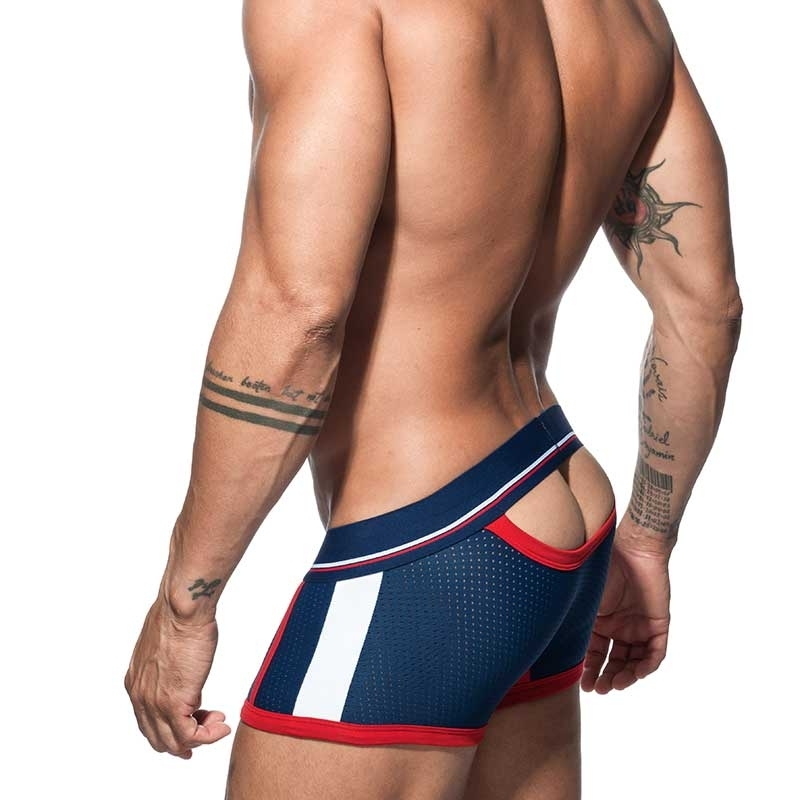 ADDICTED backless BOXER mesh AD741 half open butt in dark blue