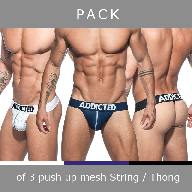 ADDICTED STRING mesh AD732P Push-Up im 3er-Sparpack
