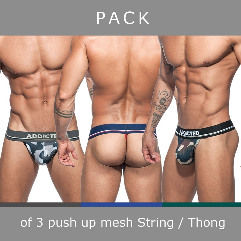 ADDICTED STRING mesh AD701P Push-Up Camouflage im 3er-Sparpack