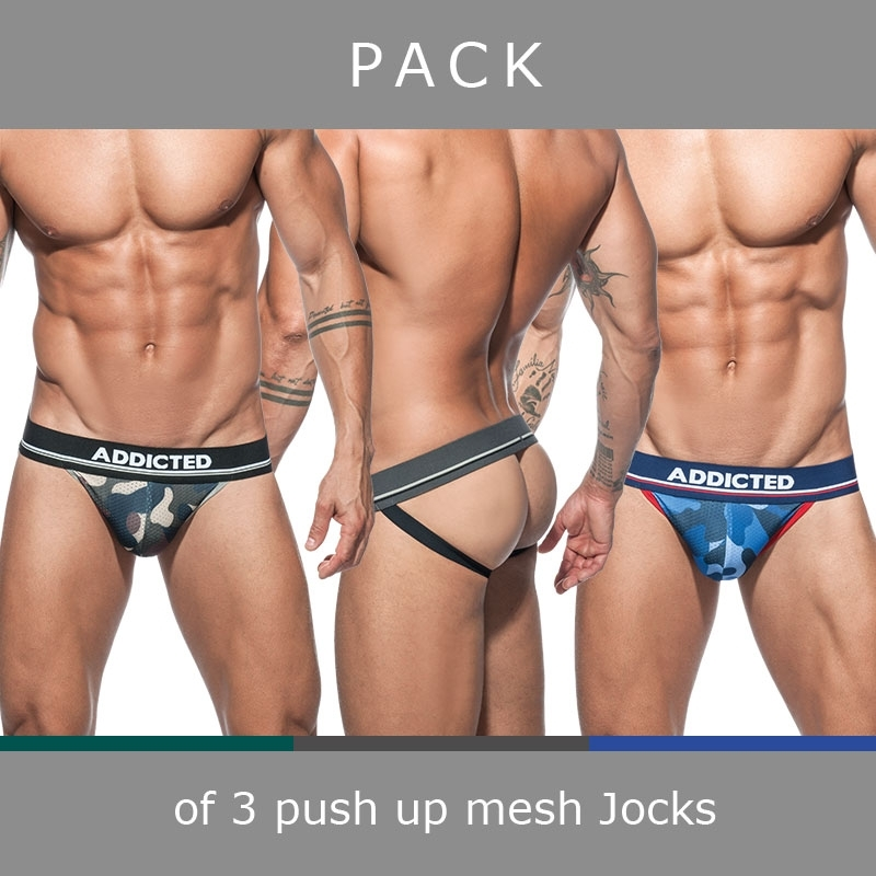 ADDICTED JOCKstraps mesh AD700P push-up camouflage in a 3-value pack