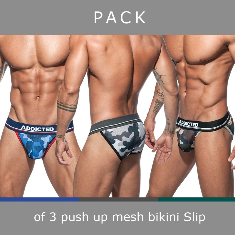 ADDICTED bikini BRIEF mesh AD699P push-up camouflage in a 3-value pack