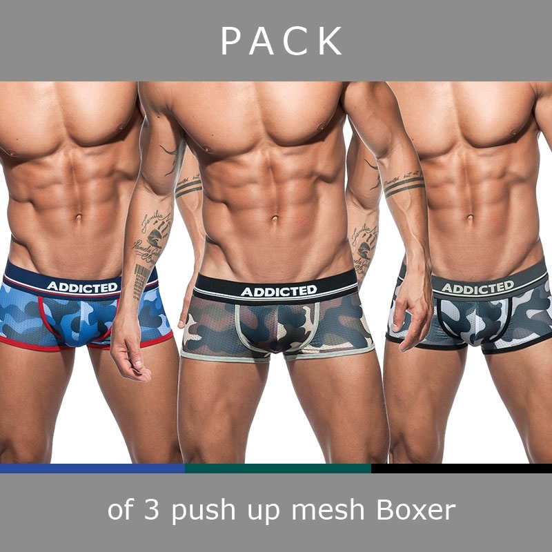 ADDICTED BOXER mesh AD698P push-up camouflage in a 3-value pack