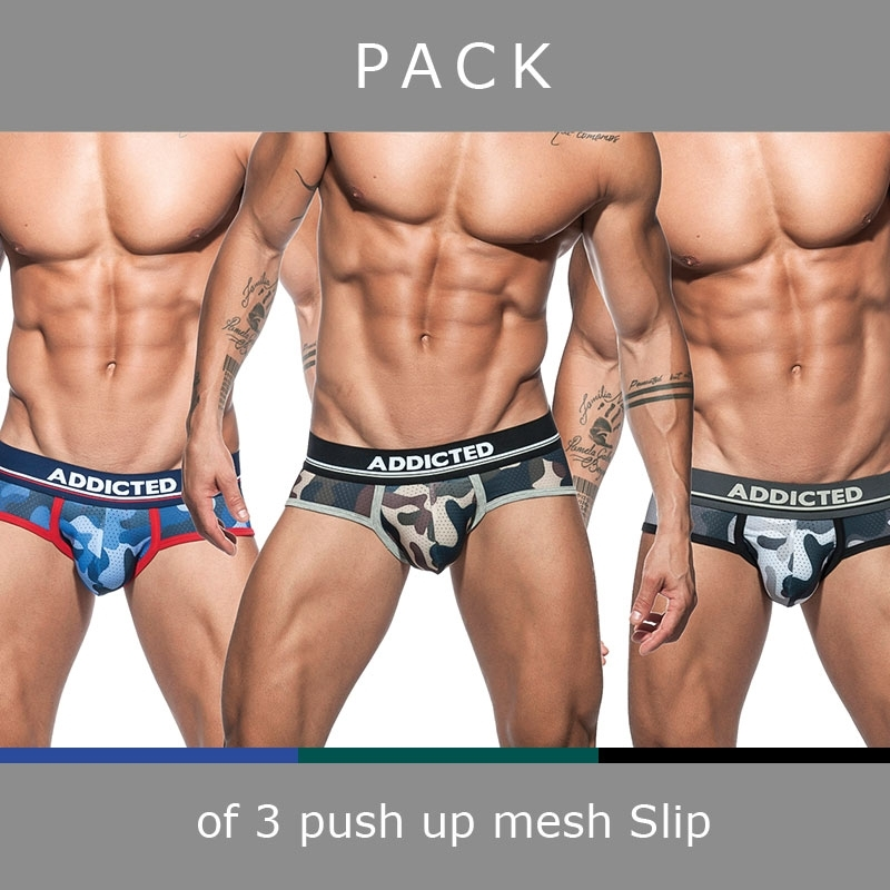 ADDICTED BRIEF mesh AD697P push-up camouflage in a 3-value pack