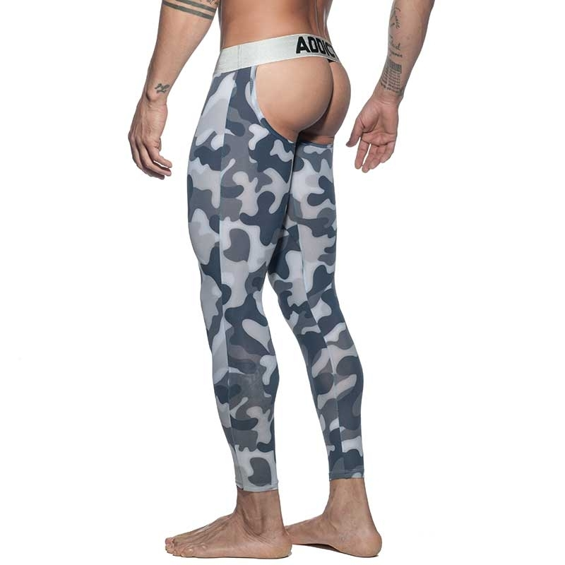 ADDICTED backless LEGGINGS AD695 camouflage in schwarz-grau Silber