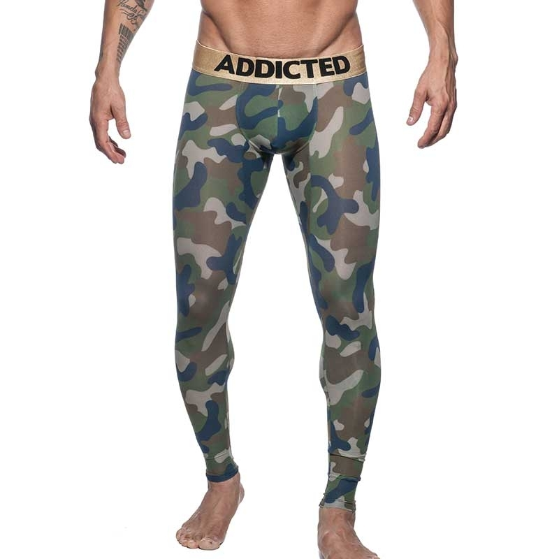 ADDICTED LEGGINGS gold AD694 camouflage in oliv green