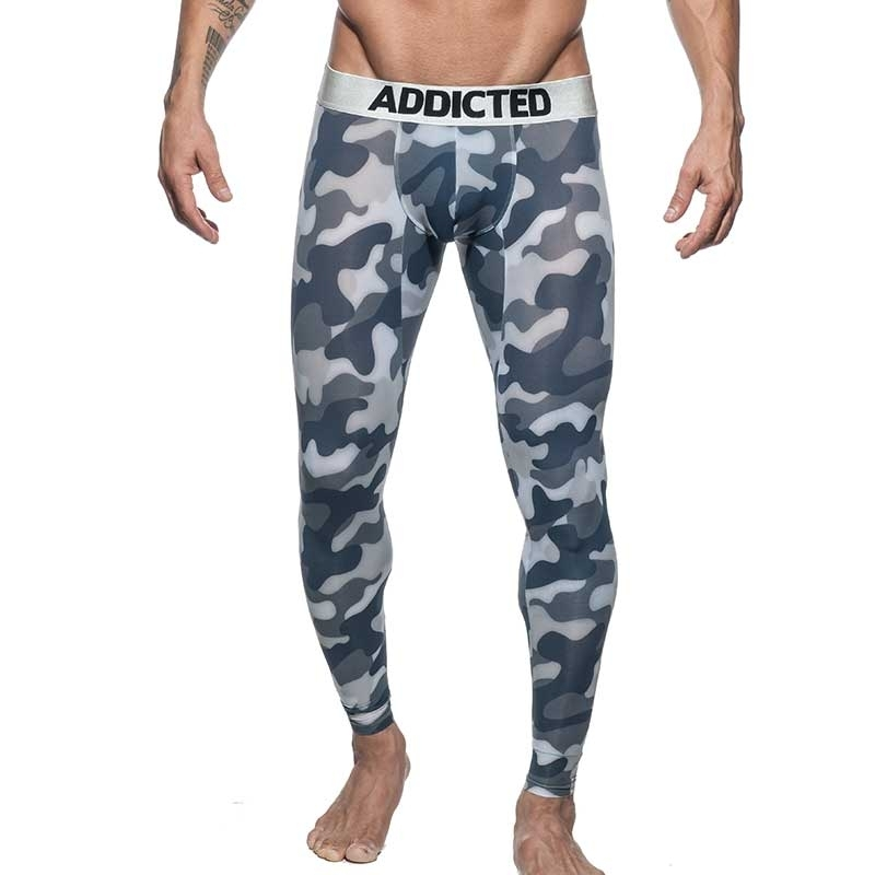 ADDICTED LEGGINGS silber AD694 camouflage in schwarz-grau