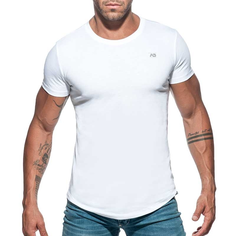 ADDICTED T-SHIRT basic AD696 tief rund in weiss