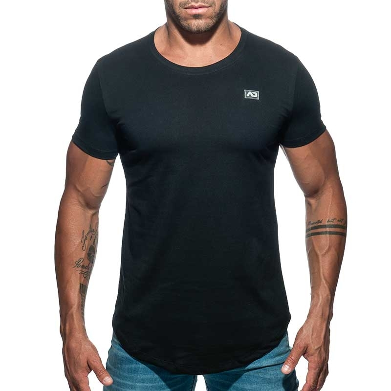 ADDICTED T-SHIRT basic AD696 tief rund in schwarz