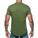 ADDICTED T-SHIRT basic AD696 tief rund in oliv green