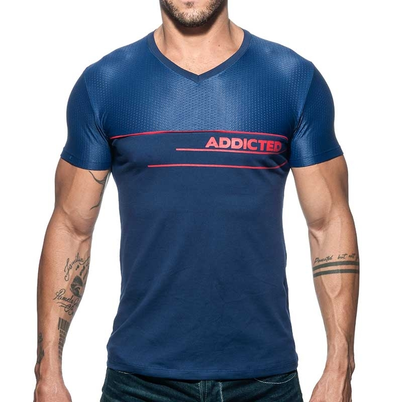 ADDICTED T-SHIRT Logo AD660 mesh in dunkelblau