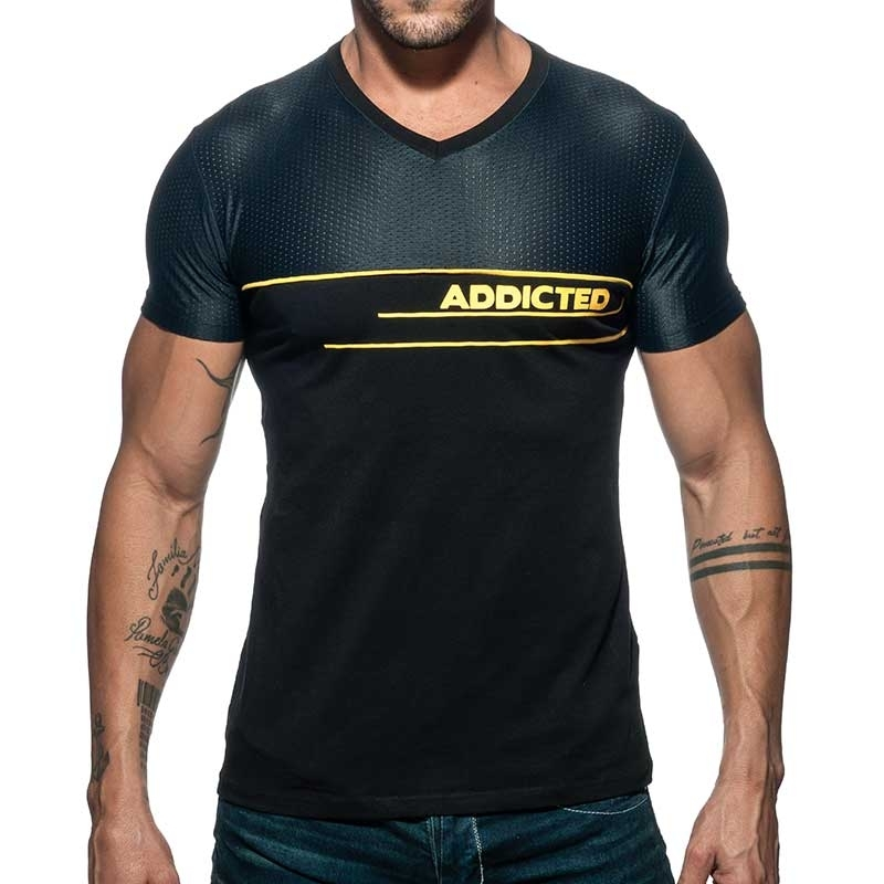 ADDICTED T-SHIRT Logo AD660 mesh in schwarz