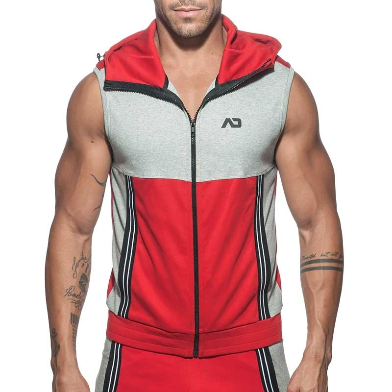 ADDICTED Sport HOODIE TANK retro AD673 colored panel in red